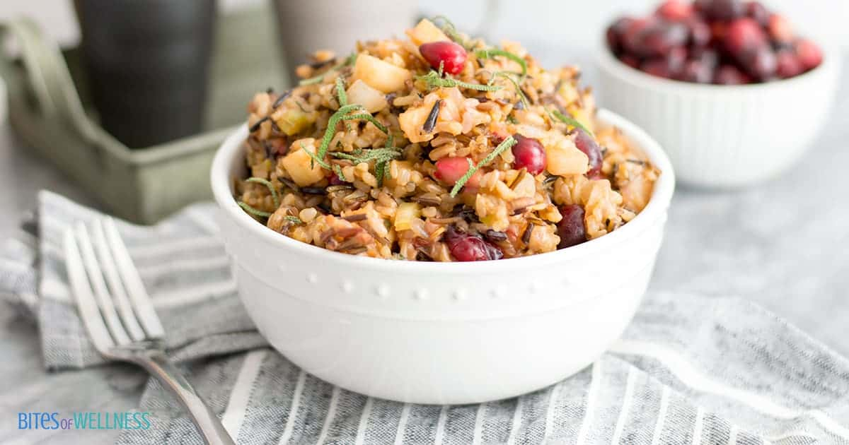 Wild Rice Stuffing in a bowl