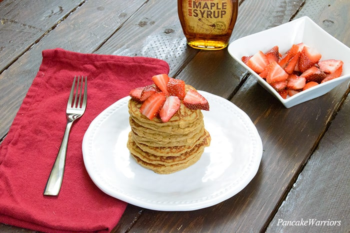 Peanut Butter Pancakes in a stack