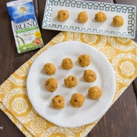 Sweet Potato Protein Bites on a plate made with sunwarrior protein