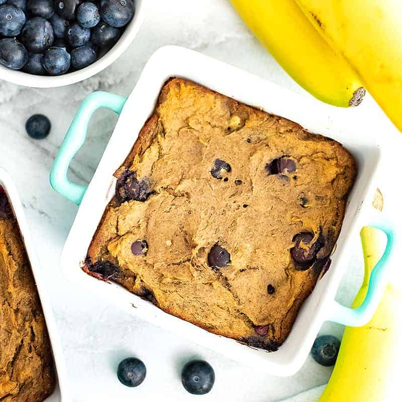 blueberry banana bread in single serve ramekins and bananas