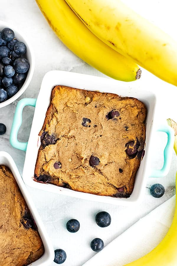 blueberry banana bread in single serve ramekins