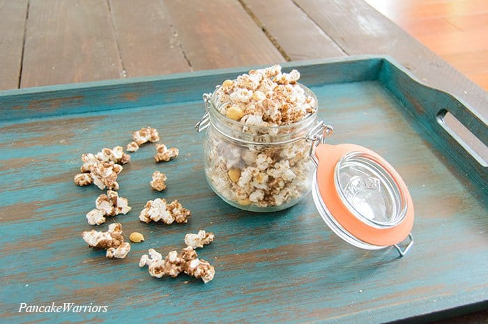 Chocolate Popcorn in a mason jar