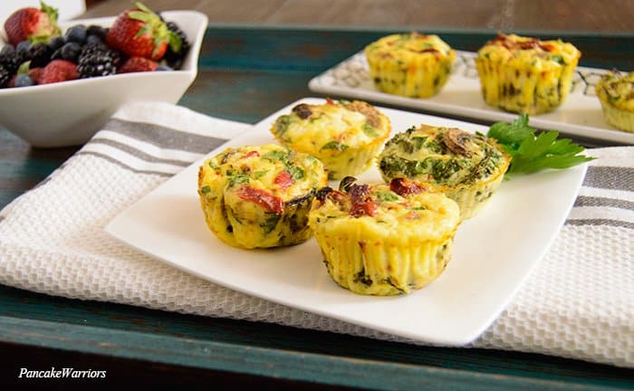 Crustless Quiche with 4 crustless quiche muffins on a plate