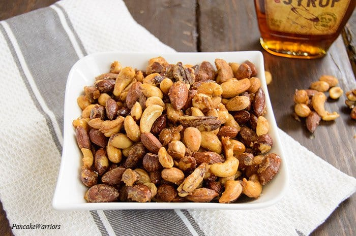 maple candied mix nuts in a bowl