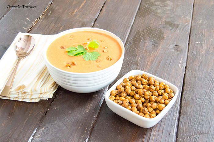 Moroccan Spiced Roasted Chickpeas with soup