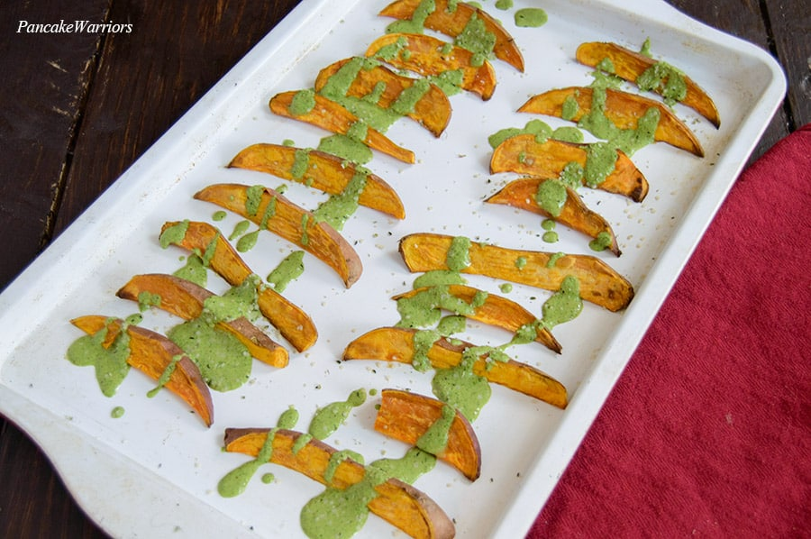 Oven Baked Sweet Potato Fries on a baking sheet