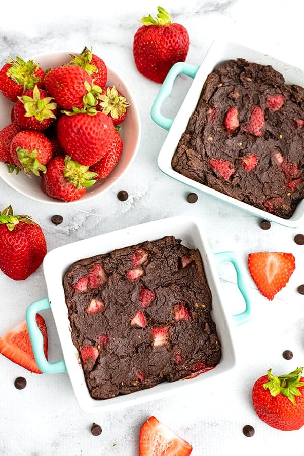 Strawberry Brownies in a single serving ramekin