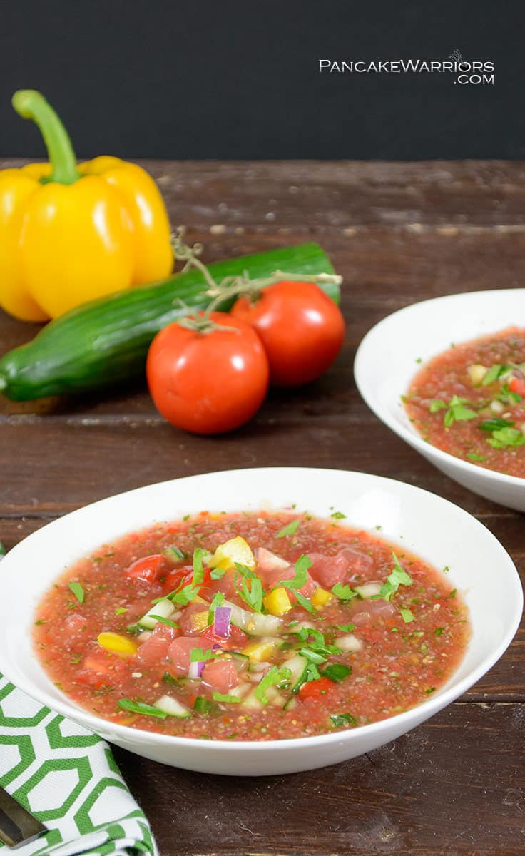 gluten free watermelon gazpacho packed with veggies in a soup bowl