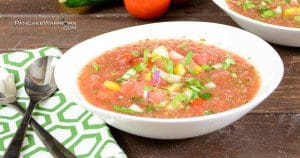 watermelon gazpacho packed with veggies in a soup bowl
