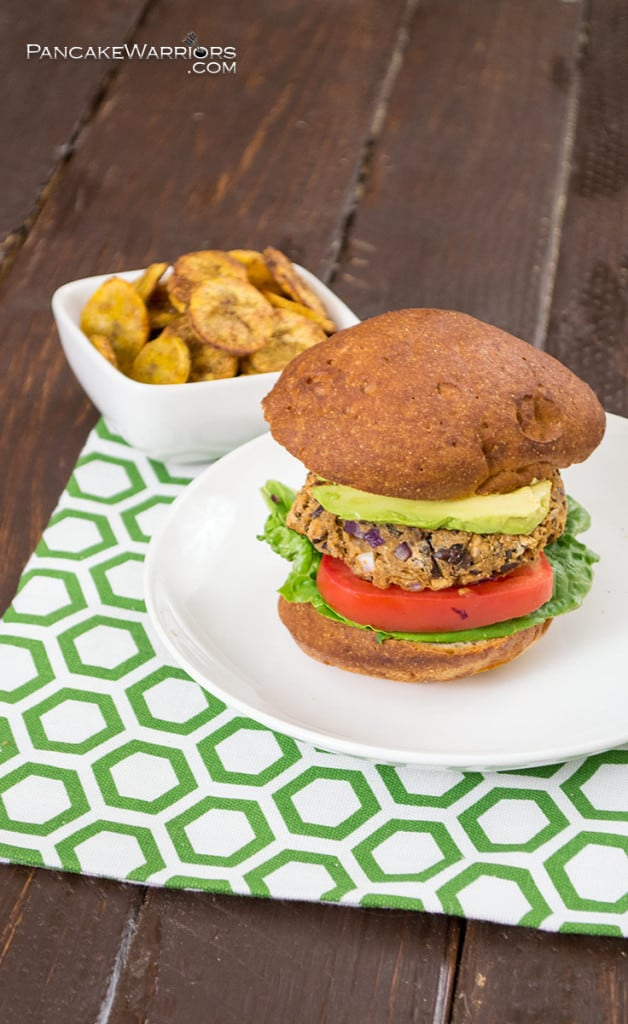 Plantain Black Bean Burgers is vegan