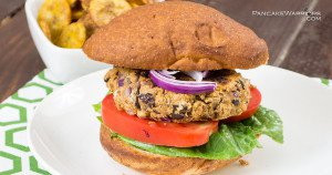 Plantain Black Bean Burgers on a large bun