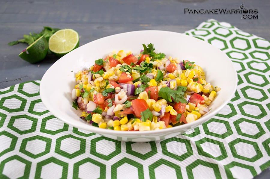 simple corn homemade salsa in a bowl