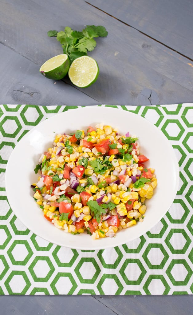 brightly colored simple corn homemade salsa