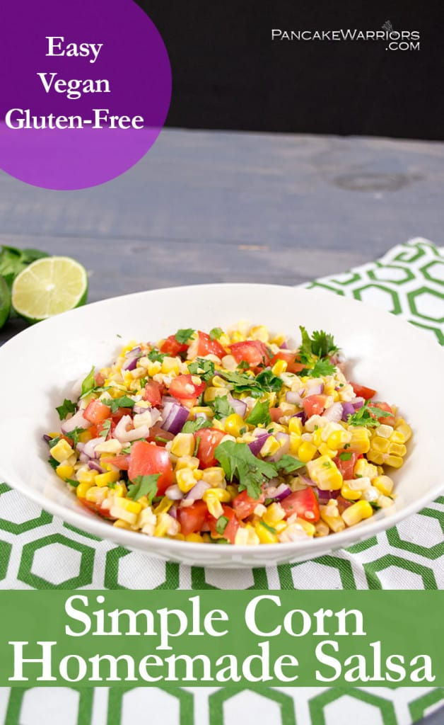 simple corn homemade salsa is gluten free, vegan and low fat