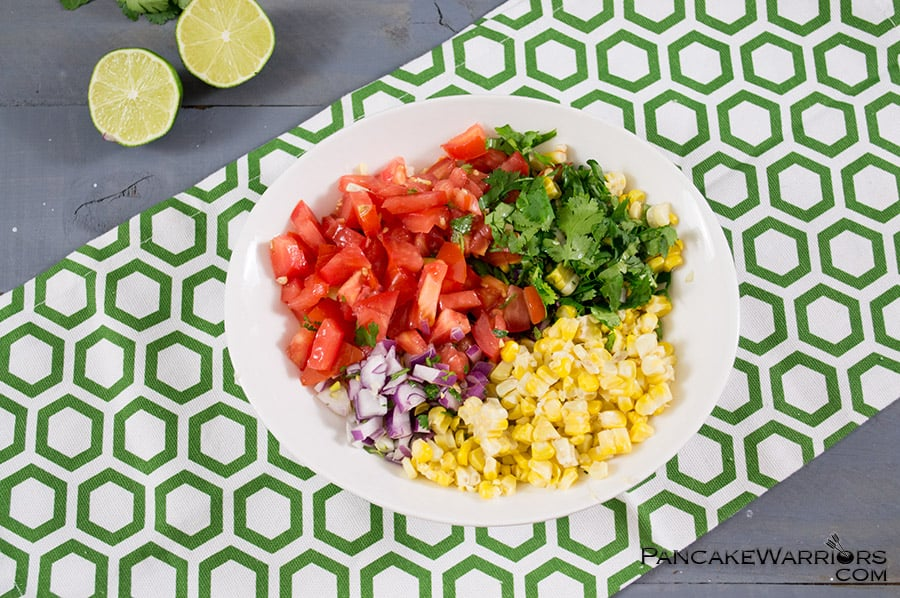 This simple corn homemade salsa is a fresh, healthy recipe that you can make anytime of the year. It's especially wonderful with super sweet, fresh summer corn. | www.PancakeWarriors.com