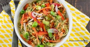Asian Zoodle Buddha Bowl with avocado carrots quinoa and bell peppers