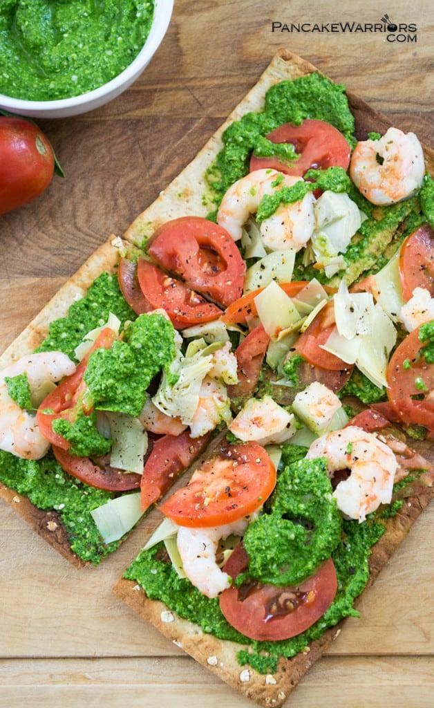 pesto shrimp flatbread pizza is veggie packed
