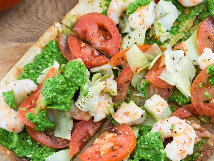 pesto shrimp flatbread pizza