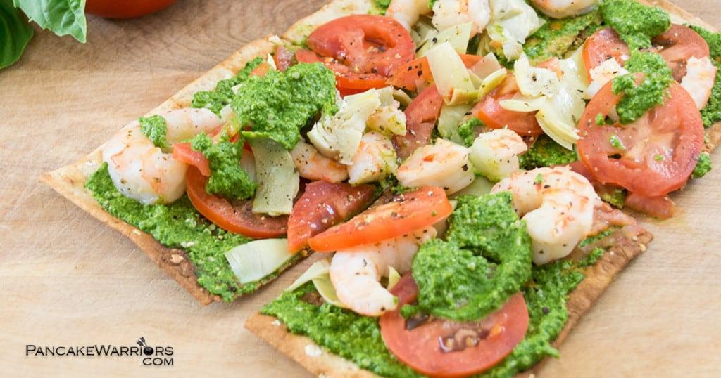 pesto shrimp flatbread pizza with tomatoes