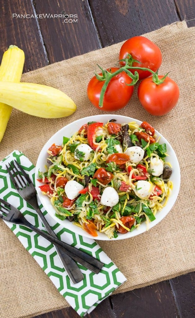 Margherita Pasta Salad in a big bowl