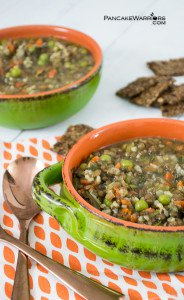 hearty brown rice lentil soup