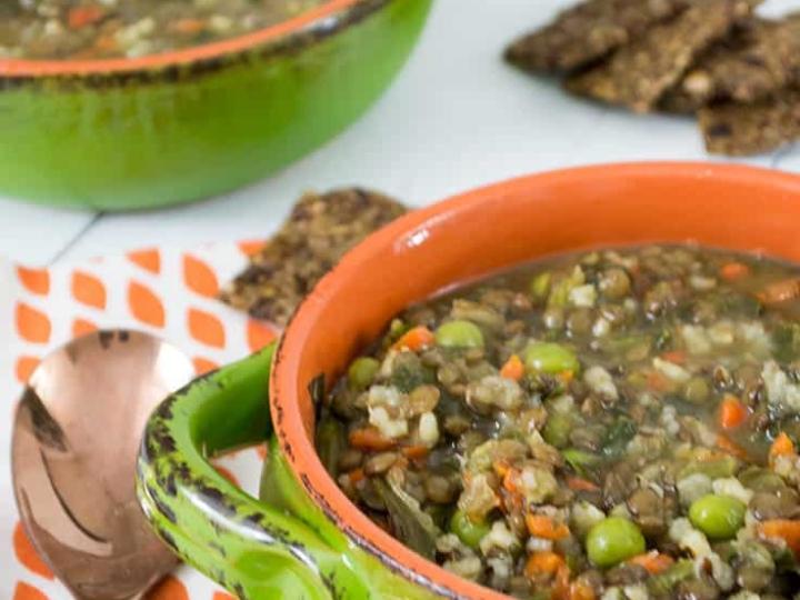 hearty brown rice lentil soup