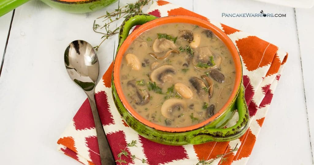 Creamy, rich and extremely flavorful, white bean mushroom soup