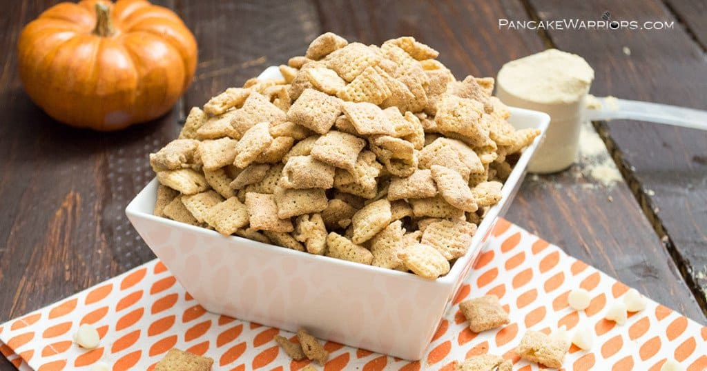 Pumpkin spice protein puppy chow in a big bowl
