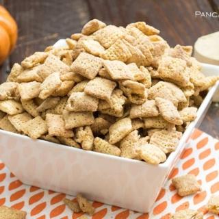 Pumpkin spice protein puppy chow in a big bowl