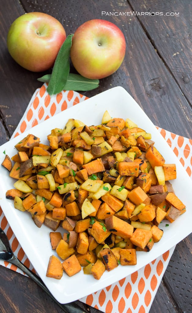 quick apple sweet potato hash on a plate