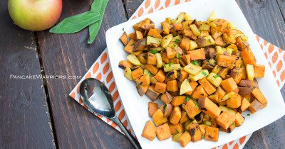 quick apple sweet potato hash