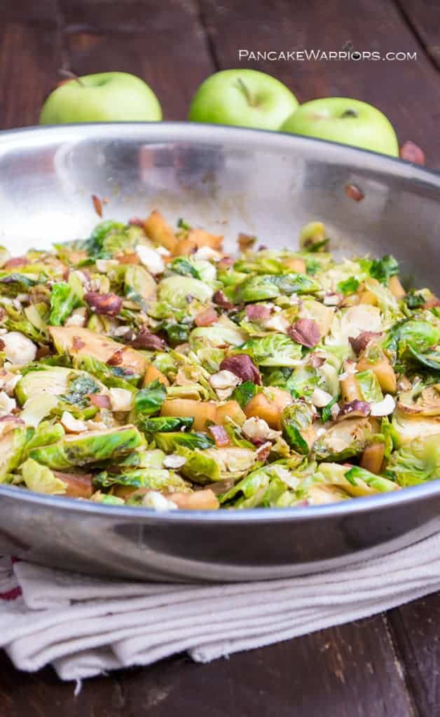 Apple Brussels Sprouts Hash in a skillet