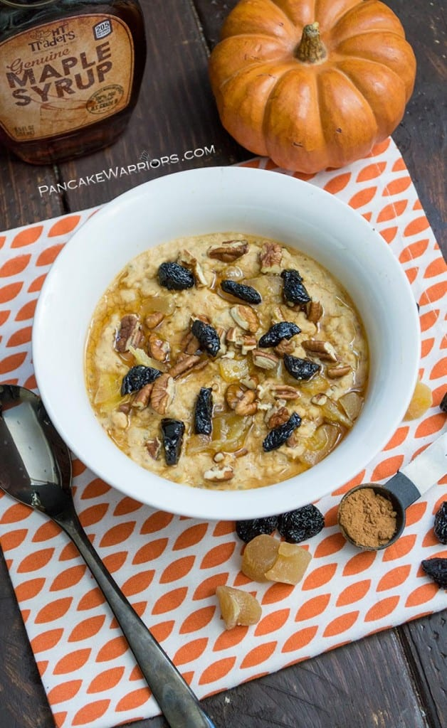 protein pumpkin oatmeal in a bowl with maple syrup