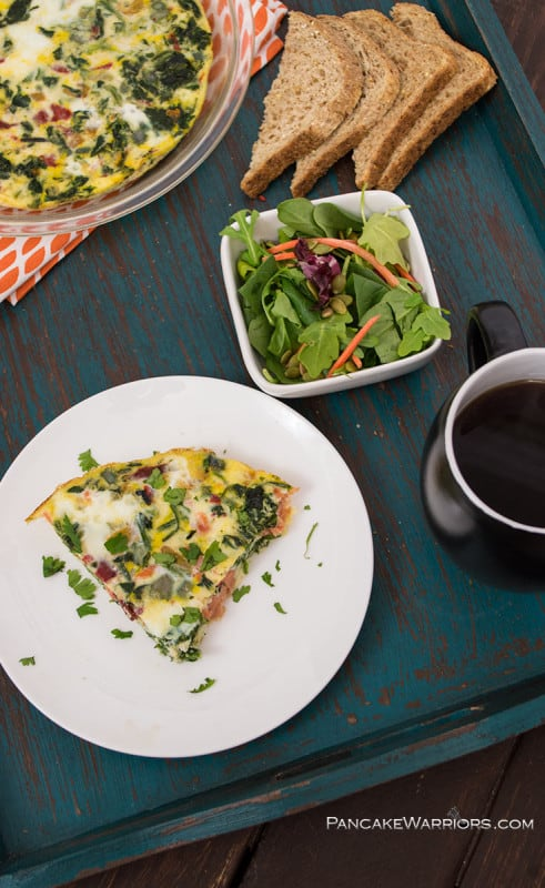 Start your day with this drool worthy smoked salmon frittata. It's gluten free, grain free, dairy free, packed with protein, and so simple to make!
