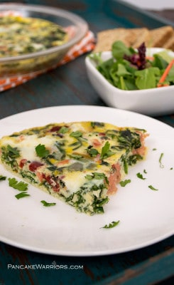 smoked salmon frittata on a plate