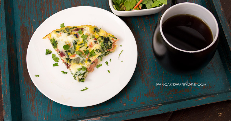 Start your day with this drool worthy smoked salmon fritatta. It's gluten free, grain free, dairy free, packed with protein, and so simple to make! | www.panckewarriors.com