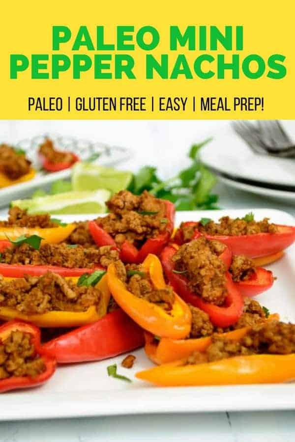 A pile of paleo mini pepper nachos on a white plate
