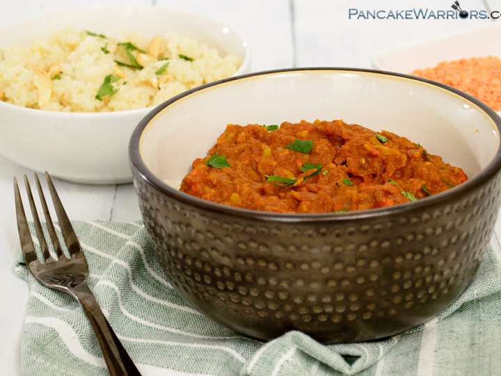 Simple slow cooker red lentil curry in a bowl