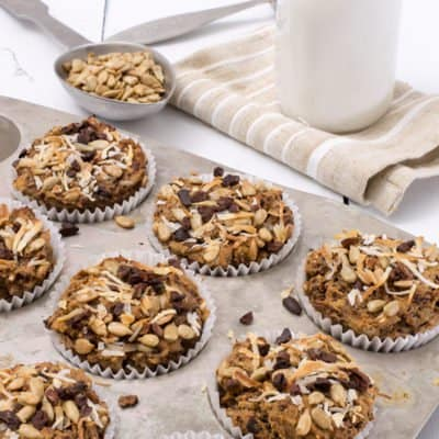 quinoa coconut banana muffins in baking pan