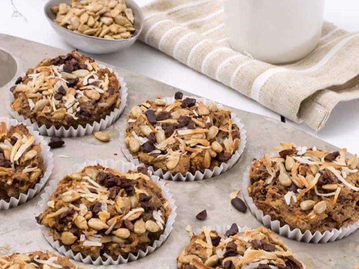 quinoa coconut banana muffins in baking pan