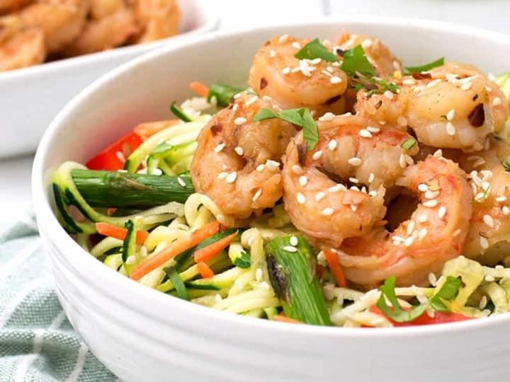Ginger Garlic Shrimp over zoodles with shrimp in background
