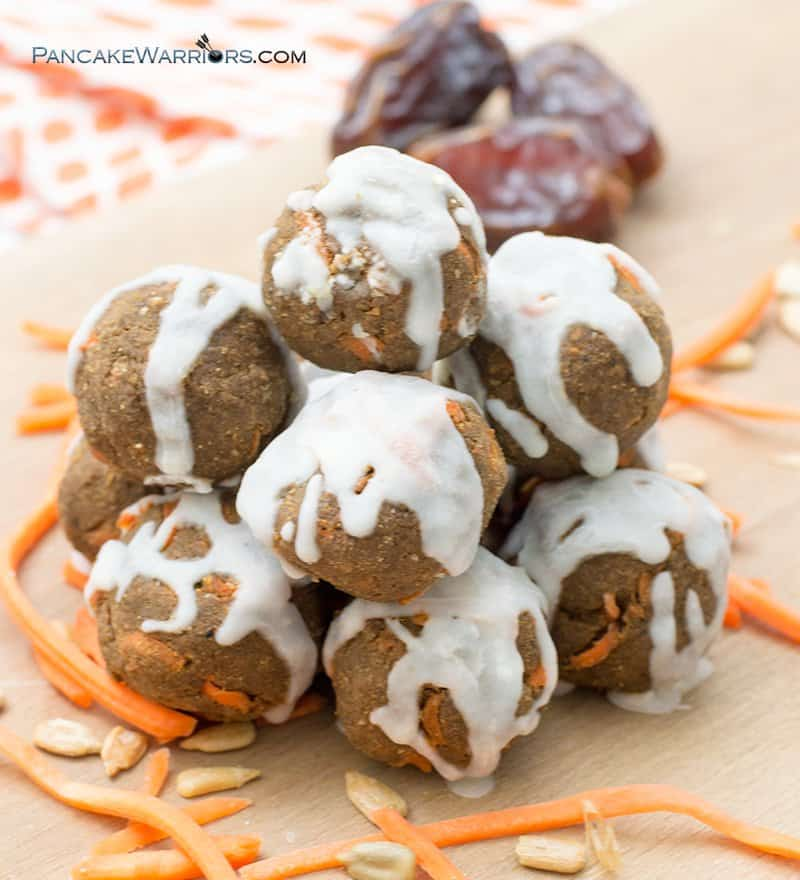 no-bake carrot cake energy bites with dates