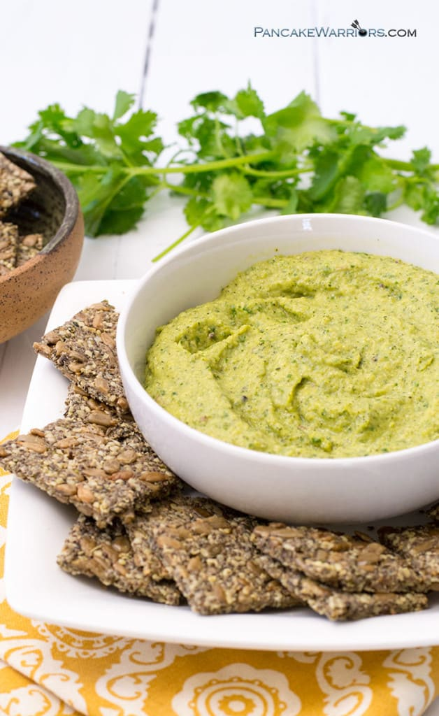paleo avocado zucchini hummus with gluten free crackers