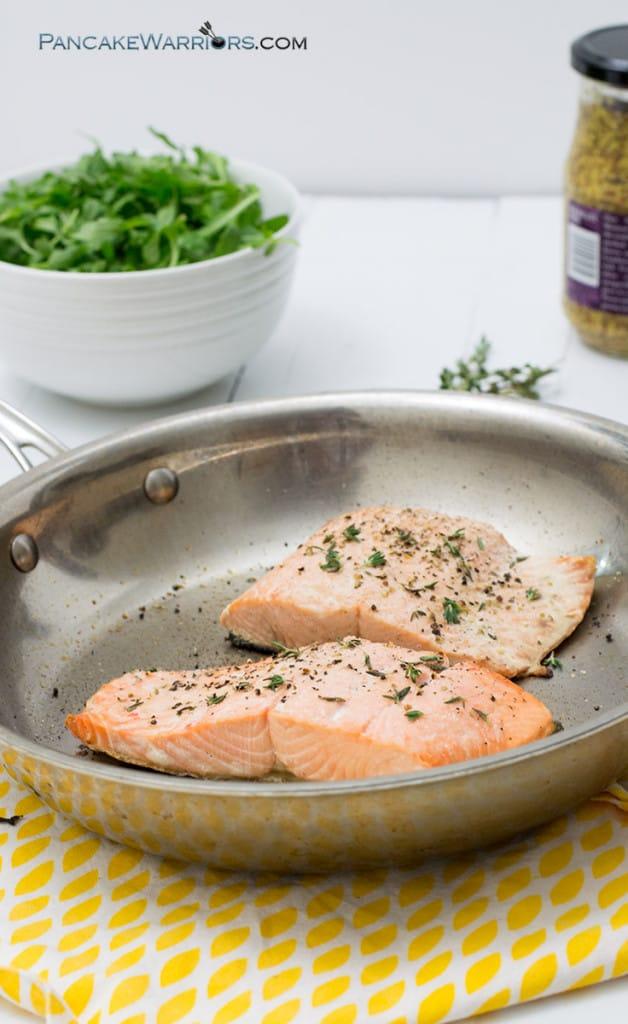 salmon recipe on a frying pan