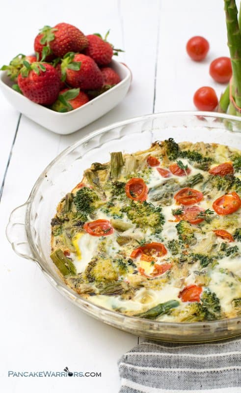 This spring veggie frittata is so easy to make and is the perfect anytime meal. You can easily make this recipe ahead of time and is great as breakfast, lunch or dinner! Gluten free, vegetarian, grain free, paleo and whole30 approved! | www.pancakewarriors.com