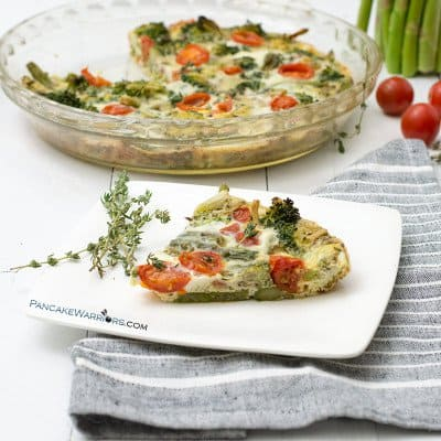 spring veggie frittata slice on a plate