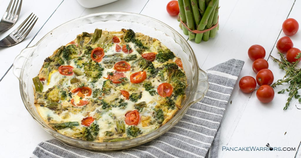 spring veggie frittata with cherry tomatoes
