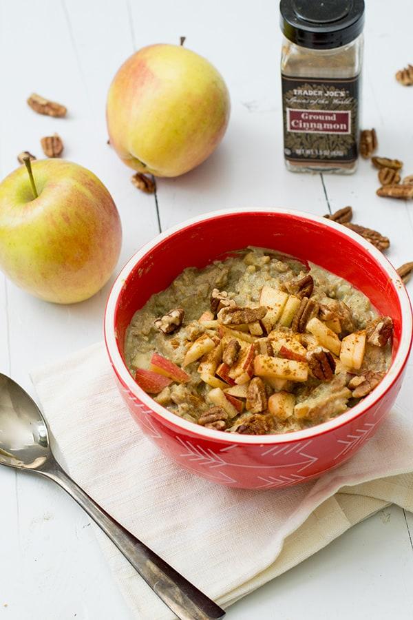 Apple Cinnamon Cauliflower Oatmeal with ground cinnamon