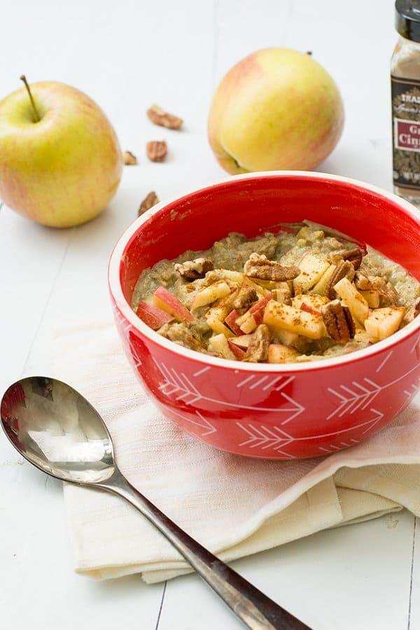 Apple Cinnamon Cauliflower Oatmeal the perfect grain free breakfast! #Vegan #glutenfree #paleo #grainfree #dairyfree | https://bitesofwellness.com