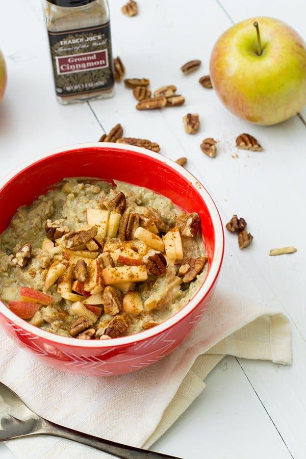 Apple Cinnamon Cauliflower Oatmeal in a red bowl
